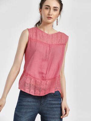 NUSH Lace Panel Sleeveless Blouse