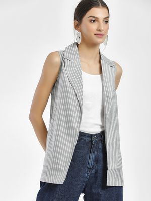 NUSH Vertical Stripe Lightweight Sleeveless Jacket