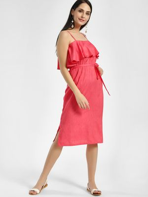 NUSH Overlay Strappy Midi Dress