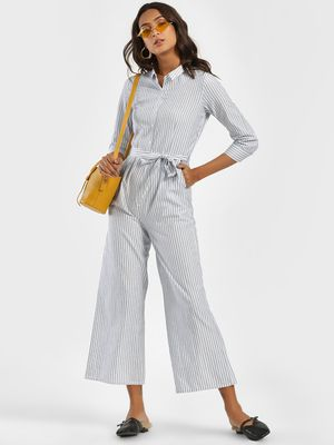 Street9 Stripe Collared Culotte Jumpsuit