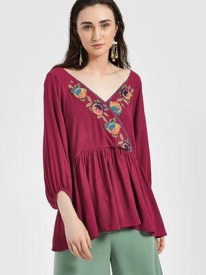 Rena Love Cross Stitch Embroidered Flared Blouse