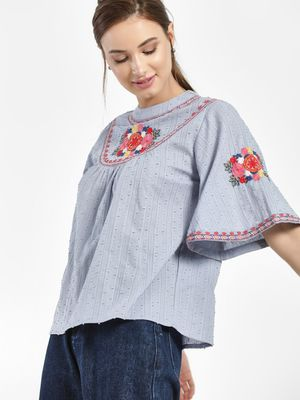 Rena Love Floral Embroidered Dobby Blouse