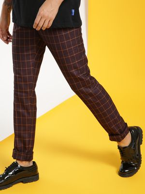 Mr Button Windowpane Check Slim Trousers