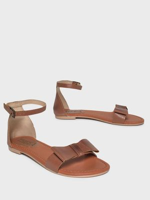 THEEA Bow Ankle Strap Flat Sandals
