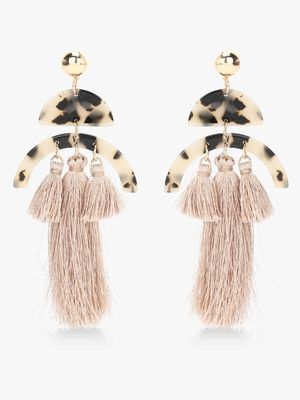 Style Fiesta Leopard Print Tassel Drop Earrings