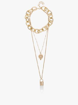 Style Fiesta Layered Pendant Chain Necklace
