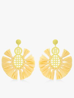 Style Fiesta Concentric Raffia Tassel Earrings