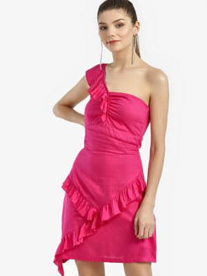 KOOVS One Shoulder Frill Dress
