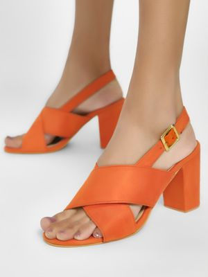 Shoe that fits You Suede Cross Strap Block Heeled Sandals