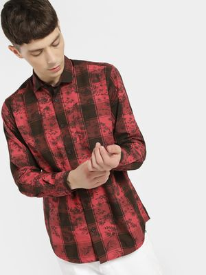 AMON Multi-Check Floral Print Shirt
