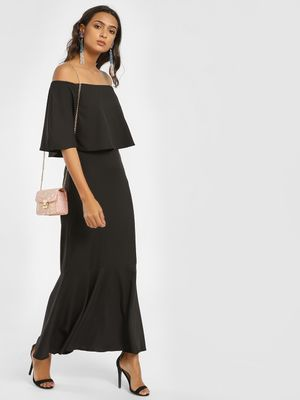 Femella Off Shoulder Overlay Maxi Dress