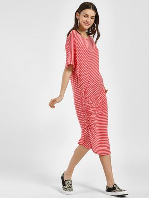 Femella Striped Ruched Front Midi Dress