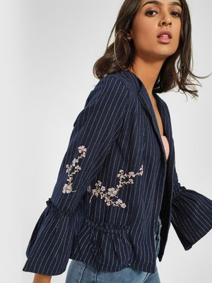 PostFold Stripe Floral Embroidered Jacket