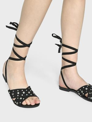 Truffle Collection Studded Cross Strap Tie-Up Sandals