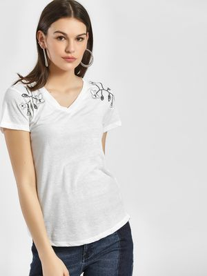 LC Waikiki Floral Embroidered & Sequinned T-Shirt