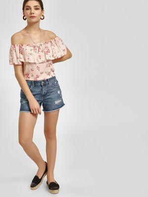 LC Waikiki Distressed Frayed Hem Denim Shorts