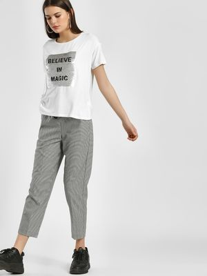 LC Waikiki Houndstooth Check Drawcord Cropped Trousers