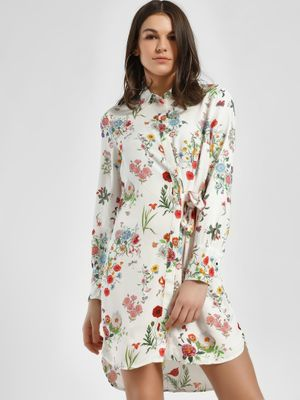 LC Waikiki Floral Print Belted Shirt Dress