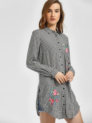 LC Waikiki Gingham Check Floral Embroidered Tunic Dress