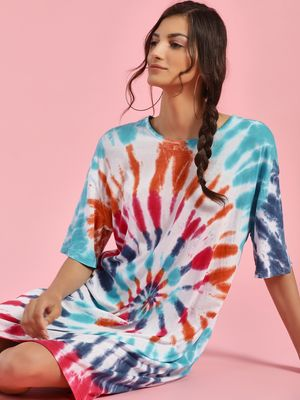 Sbuys Tie & Dye Oversize T-Shirt Dress