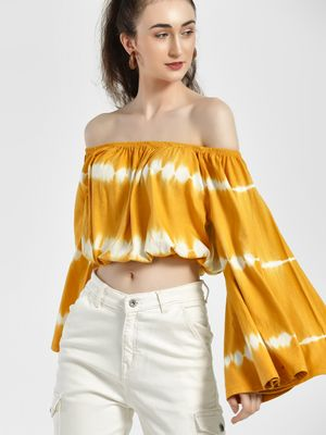 Sbuys Off-Shoulder Tie & Dye Crop Top