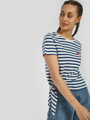Only Horizontal Stripe Tie-Knot T-Shirt