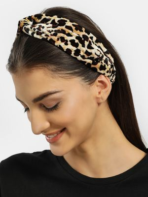 VOODOO VIXEN Velour Leopard Print Twisted Headband