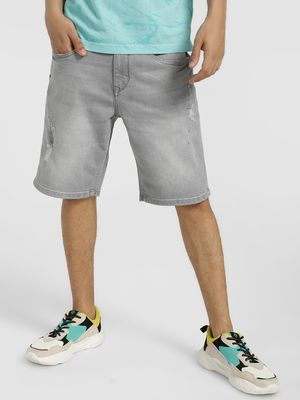 Lee Cooper Distressed Light Wash Denim Shorts