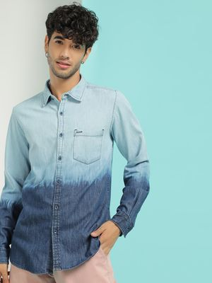 Lee Cooper Ombre Long Sleeve Denim Shirt