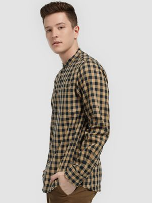 Lee Cooper Gingham Check Grandad Collar Shirt