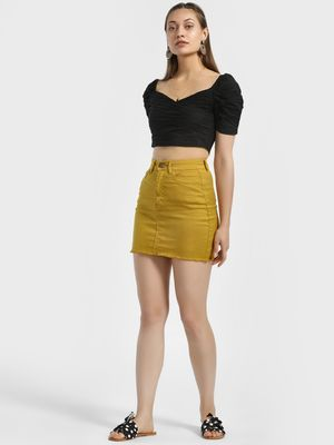 Lasula High Waist Denim Mini Skirt