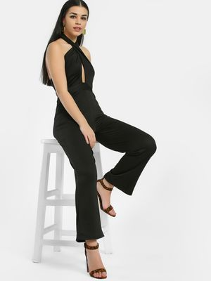 Oliv Halter Neck Cutout Jumpsuit