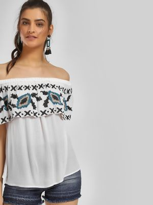 MIWAY Cross Stitch Embroidered Off-Shoulder Top