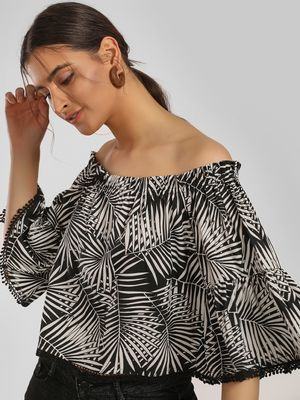 MIWAY Tropical Print Off-Shoulder Top