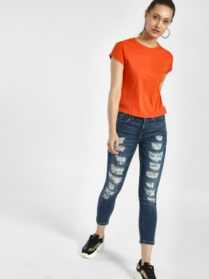 Blue Saint Heavy Distressed Cropped Skinny Jeans