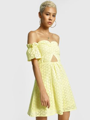 KOOVS Broderie Cutout Skater Dress