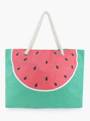 South Beach Watermelon Print Tote Bag