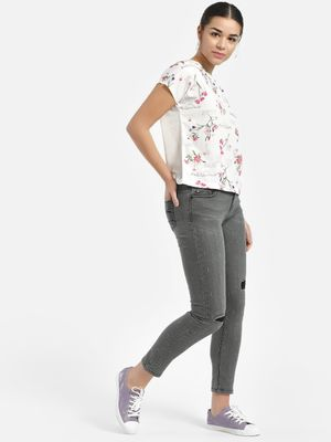 Lee Cooper Distressed Patchwork Cropped Skinny Jeans