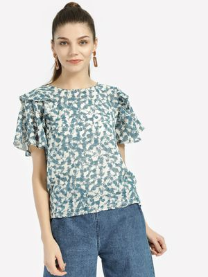 Lee Cooper Abstract Print Tiered Sleeve Tops