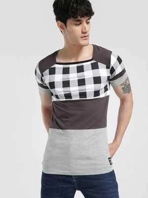 Kultprit Checked Panel Cut & Sew T-Shirt