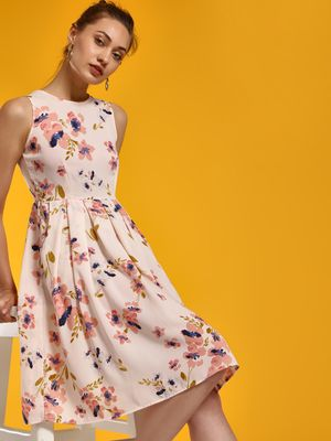 Magzayra Floral Print Pleated Skater Dress
