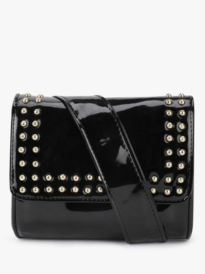Paris Belle Patent Studded Flap Bumcum Sling Bag