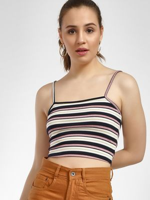Glamorous Ribbed Striped Cami Top