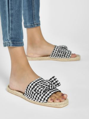 South Beach Gingham Check Bow Front Espadrille Slides