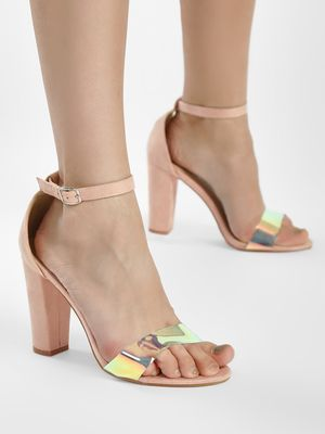Glamorous Holographic Strap Suede Heeled Sandals