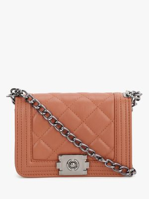 People Quilted Chain Sling Bag