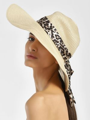 New Look Woven Scarf Tie Floppy Hat