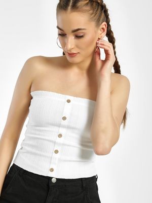 New Look Ribbed Button Front Bandeau Top