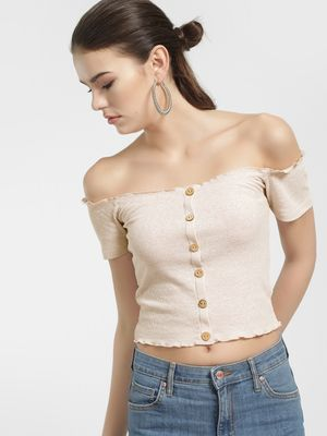 New Look Ribbed Button-Front Off-Shoulder Top