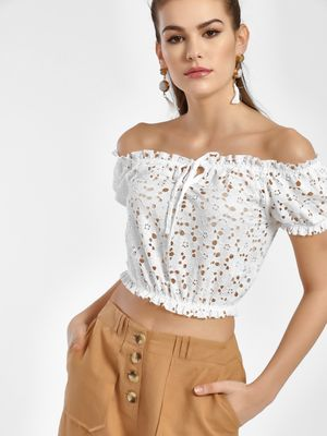 New Look Lace Detail Bandeau Top